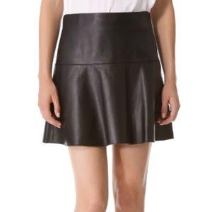Vince Black Lamb Leather Mini Skirt Flare 8